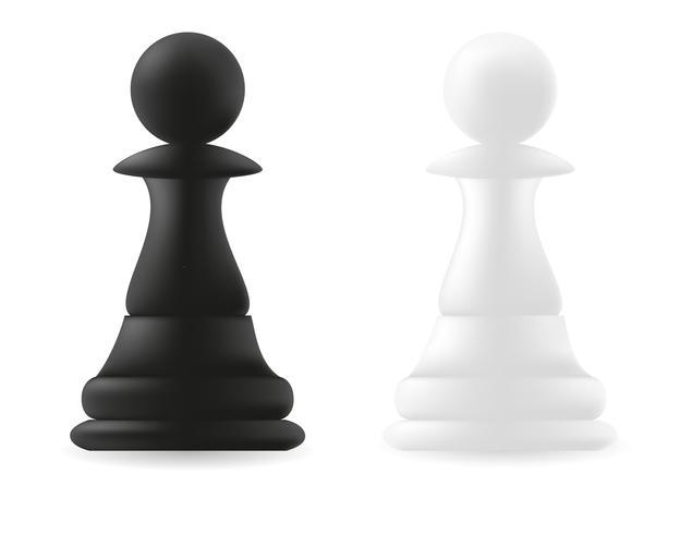 pieza de ajedrez peón blanco y negro vector