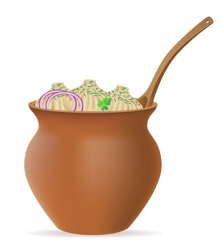 khinkali de bolas de masa hervida de masa con un relleno y verdes en la ilustración de vector de olla de arcilla