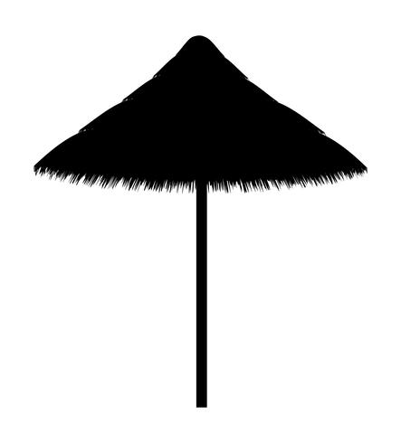beach umbrella made for shade black contour silhouette vector illustration