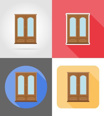 skåp möbler sätta platta ikoner vektor illustration
