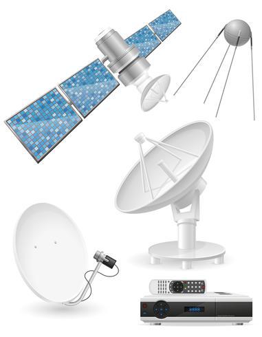 stel pictogrammen satelliet uitzending vectorillustratie