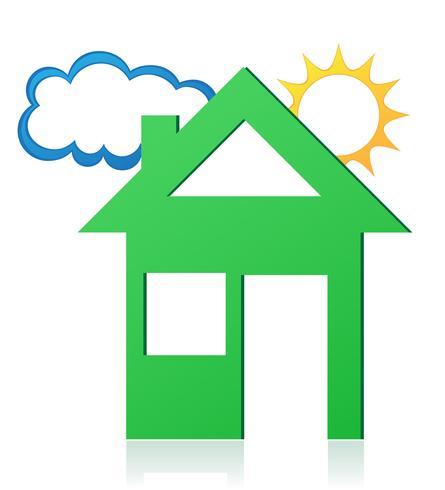 illustrazione vettoriale di sole casa e nube concetto