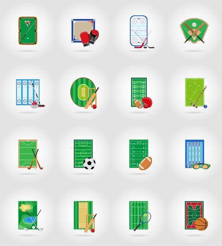 Estadio del patio de recreo y campo para iconos planos de juegos de deportes ilustración vectorial vector