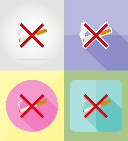 symbole de la cigarette service icônes plates vector illustration