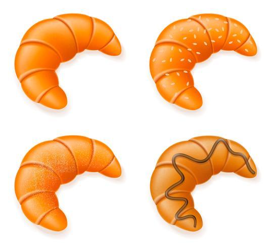 stel pictogrammen van verse knapperige croissants vectorillustratie vector
