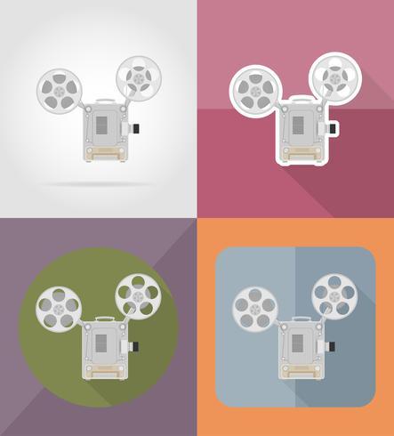old retro vintage movie film projector flat icons vector illustration
