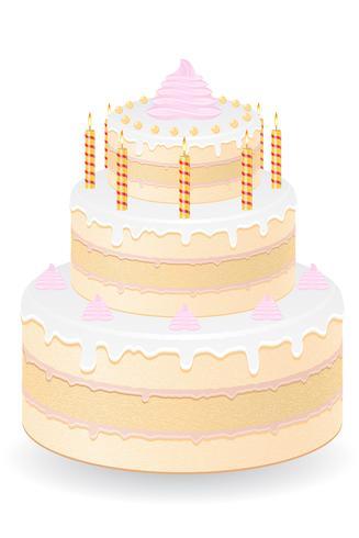 gâteau aux bougies allumées vector illustration