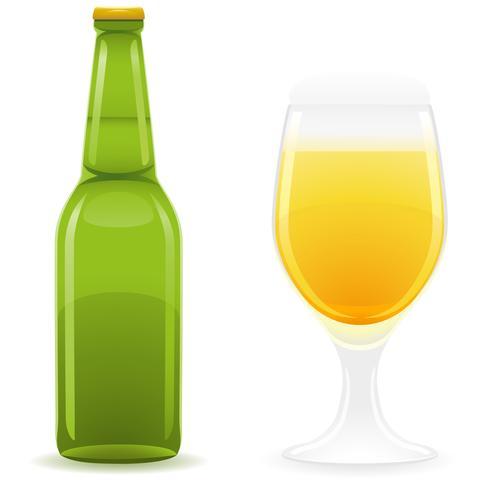bouteille de bière et verre vector illustration