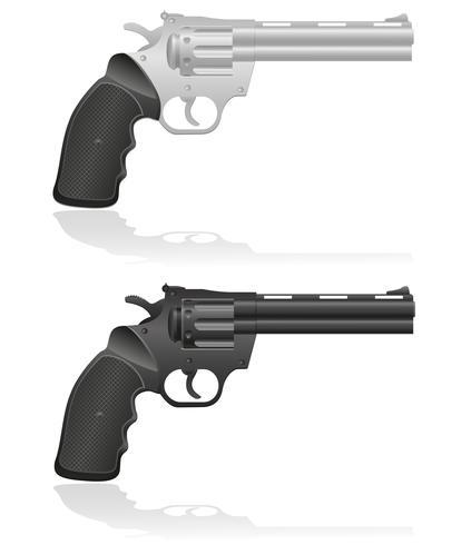 silver och svart revolver vektor illustration