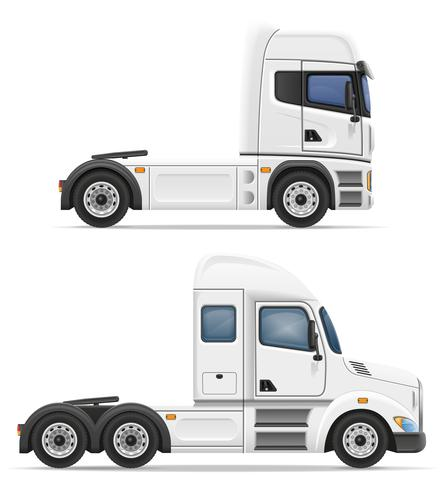 set ikoner lastbil semi trailer vektor illustration