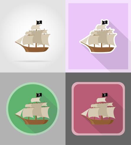piratenschip plat pictogrammen vector illustratie