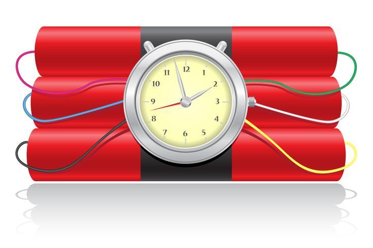 explosive dynamite and clockwork vector illustration