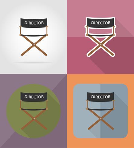regissör film stol platt ikoner vektor illustration