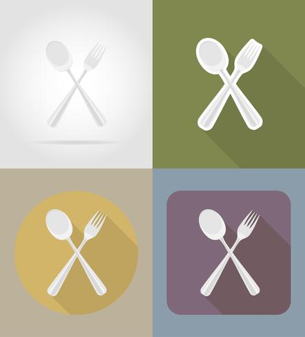 spoon with fork objects and equipment for the food vector illustration