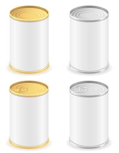 barattolo di latta di metallo impostare illustrazione vettoriale icone