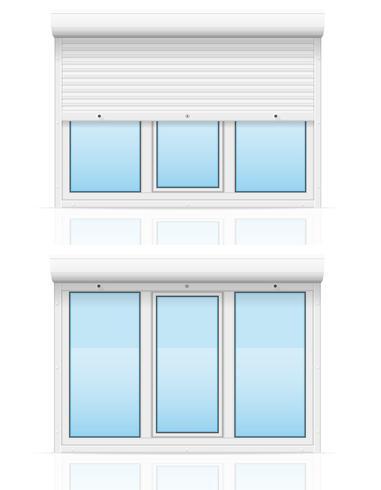 janela de plástico com ilustração vetorial de persianas de rolamento