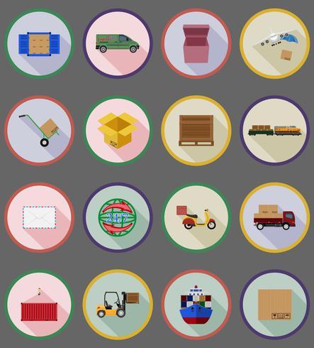 iconos planos de entrega vector illustration