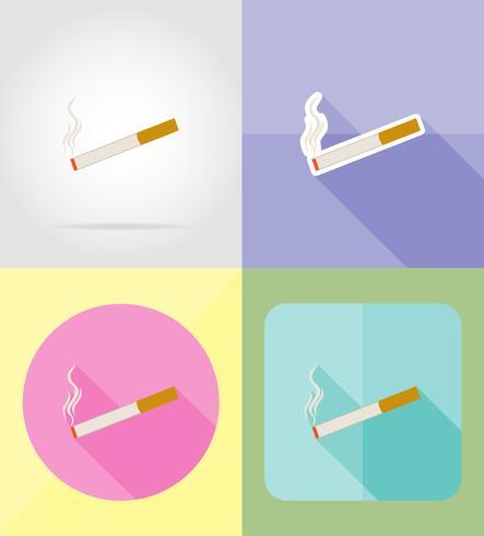 cigarett symbol tjänsten platta ikoner vektor illustration