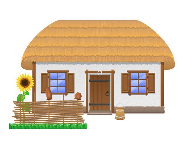 antigua casa de campo con una ilustración vectorial de techo de paja