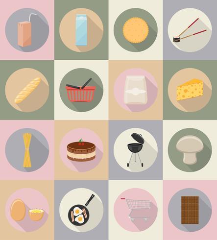 ilustração em vetor ícones plana comida e objetos