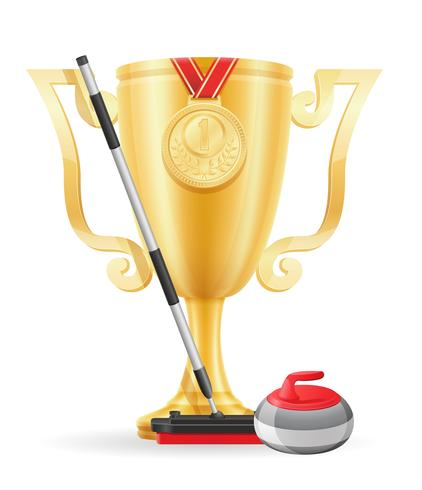 curling cup winner gold stock vector illustration