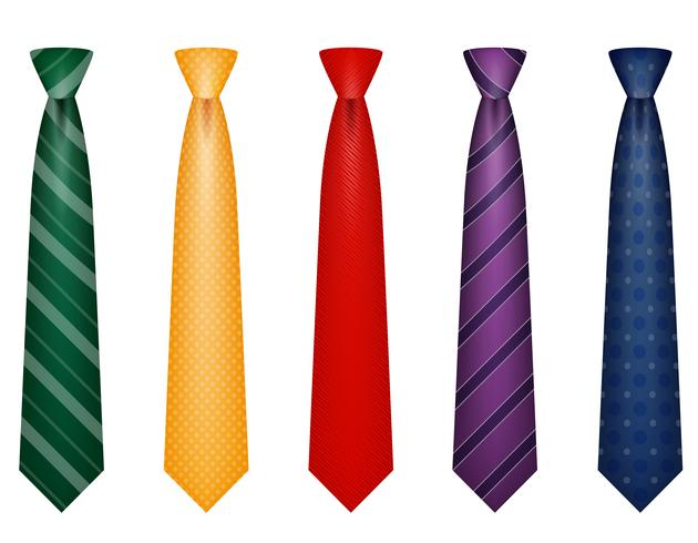set icons colors tie for men a suit vector illustration