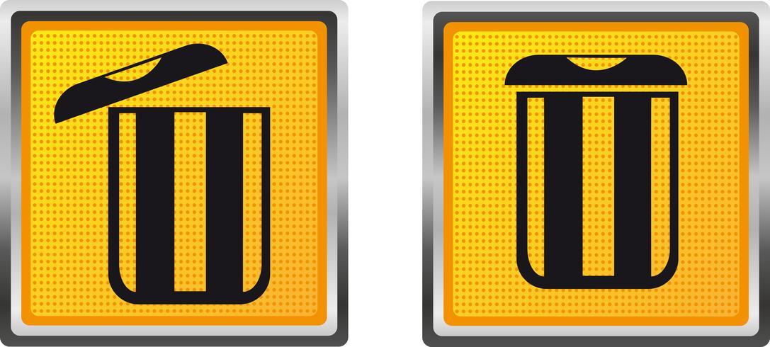 Bote de basura de los iconos para la ilustración de vector de diseño
