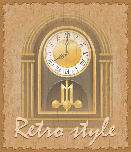 retro-stijl poster oude klok vectorillustratie