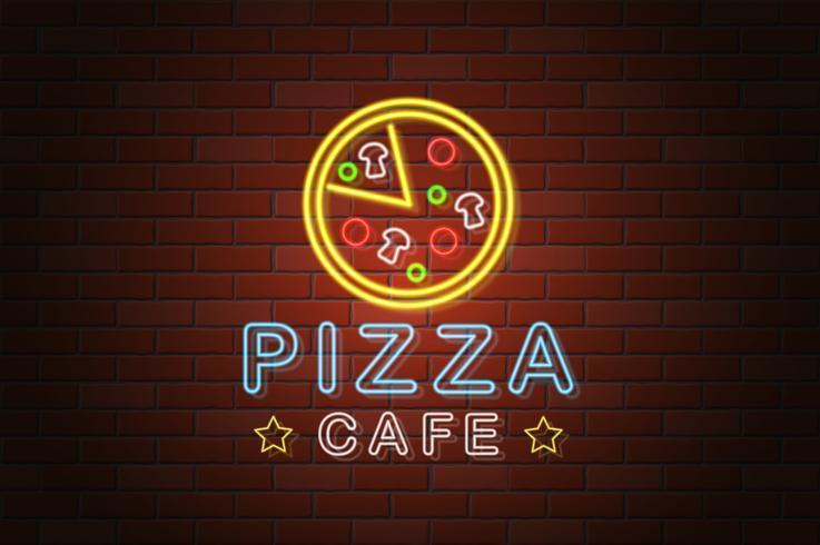 glühende Neonschild Pizza Café Vektor-Illustration