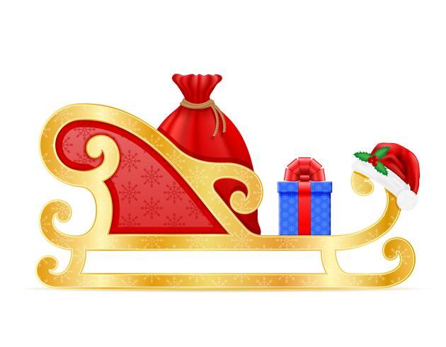 traîneaux de Noël illustration vectorielle de père Noël