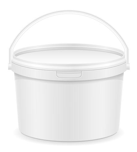 witte plastic emmer voor verf vectorillustratie vector