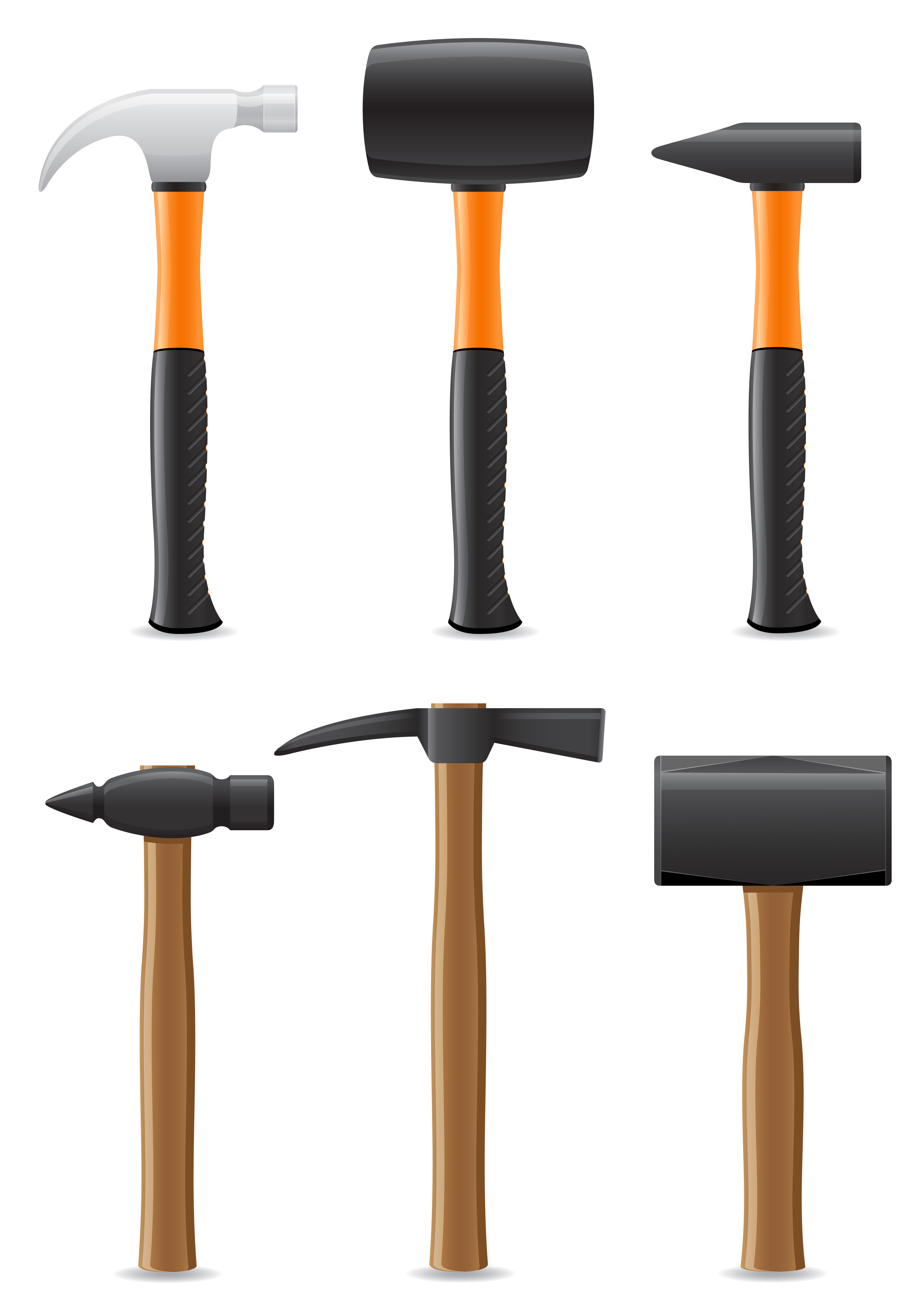 Vector Illustration Hammer: Tool Hammer With Wooden And Plastic Handle Vector