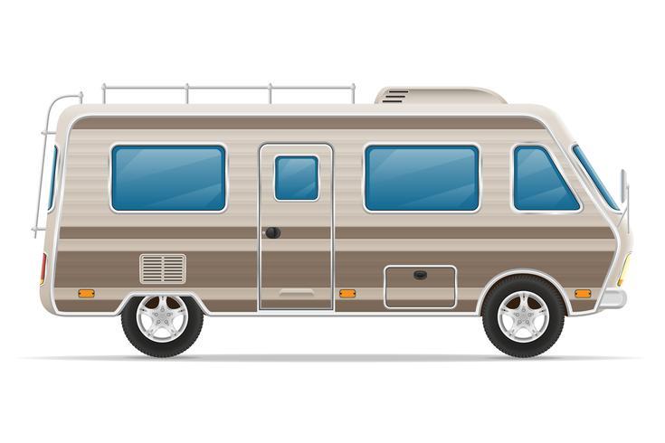 car van caravan camper mobile home vector illustration