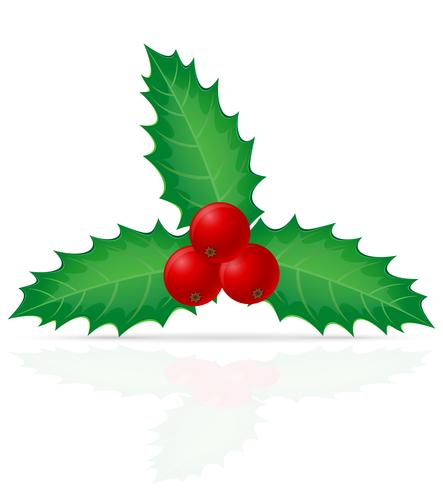 Ilustración de vector de Navidad baya de acebo