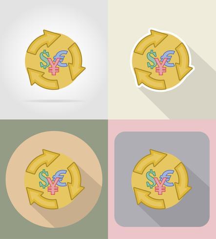 símbolo de los iconos de cambio de moneda plana ilustración vectorial