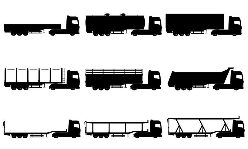 Stellen Sie Ikonen-LKWs halb Anhängerschwarzschattenbild-Vektorillustration ein