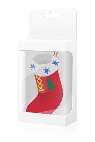 nouvel an, boîte d'emballage avec avec illustration vectorielle chaussette