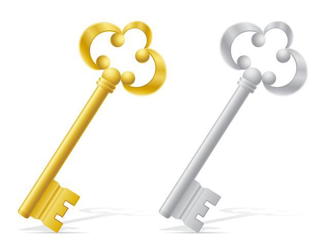 illustration vectorielle de vieilles clés rétro porte serrure