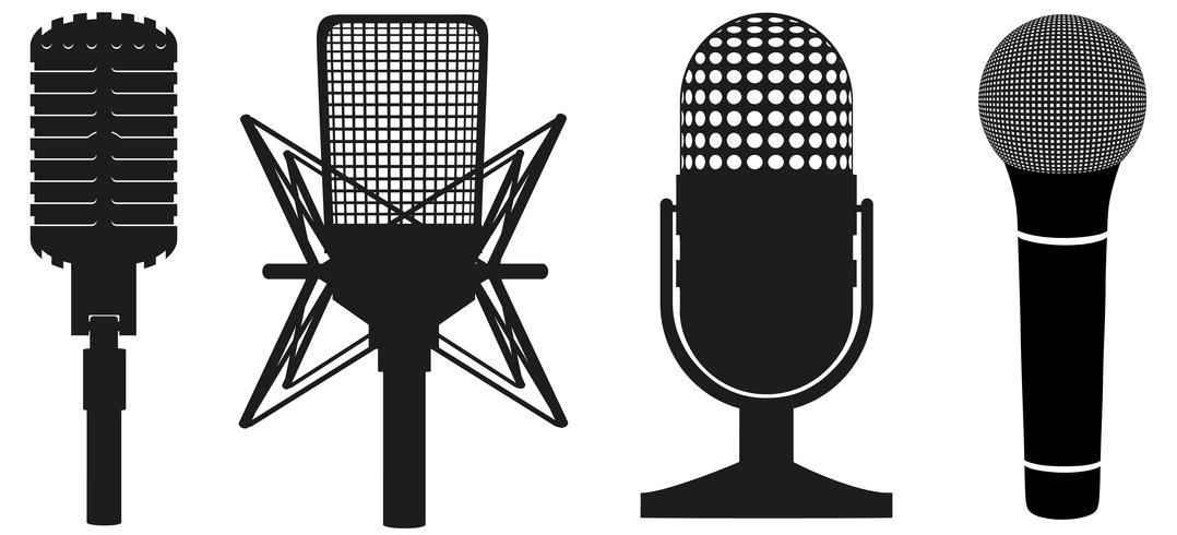 ikon uppsättning mikrofoner svart silhuett vektor illustration