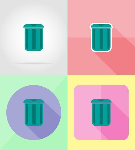 lata de lixo para ilustração em vetor design plano ícones
