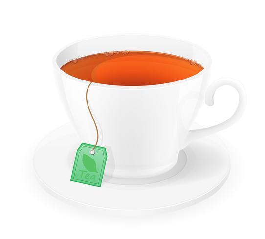xícara de porcelana de chá no pacote com ilustração vetorial de corda