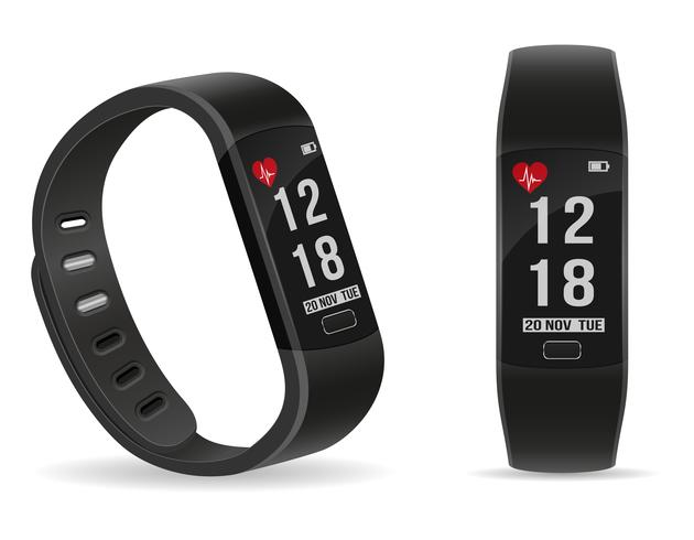 digital smart fitness watch bracelet with touchscreen stock vector illustration