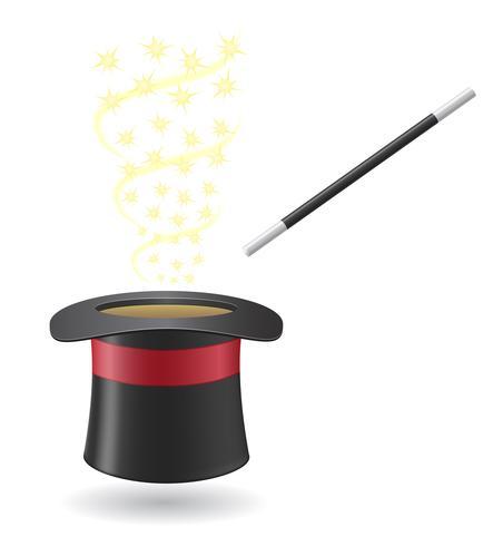 Varita mágica y sombrero cilindro ilustración vectorial vector