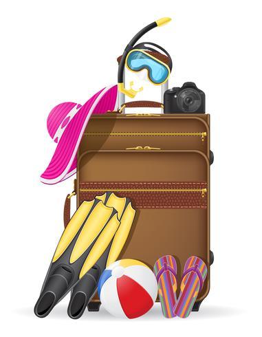 maleta con accesorios de playa vector illustration