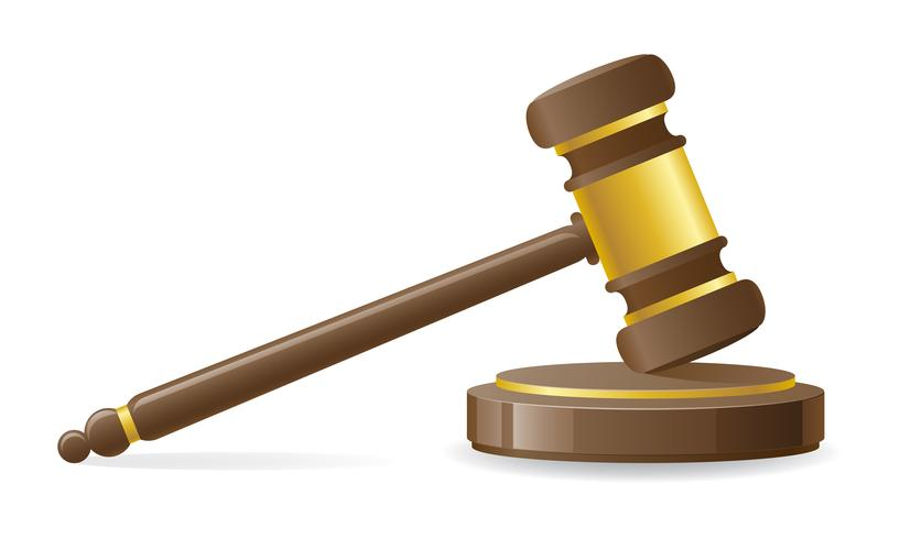 Ilustración de vector de martillo judicial o subasta