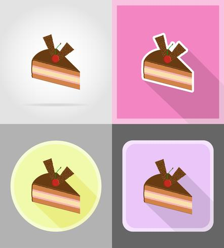 piece of chocolate cake with cherries flat icons vector illustration