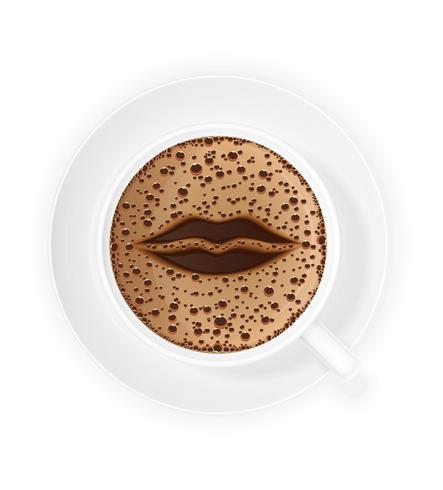 kopp kaffe crema och symbol läppar vektor illustration