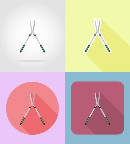 Herramienta de jardín tijeras de podar iconos planos vector illustration