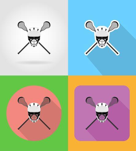 illustrazione piana di vettore delle icone dell'attrezzatura di lacrosse