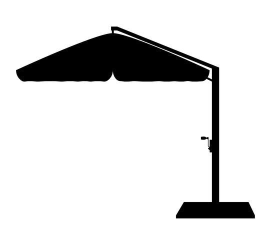 gran sombrilla para bares y cafés en la terraza o en la playa ilustración de vector de silueta de contorno negro